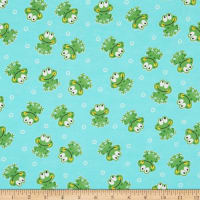 Comfy Flannel Smiley Frogs Green