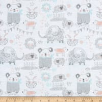 Comfy Flannel Fun Animals In Pajamas Relaxing White