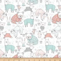 Comfy Flannel Animals In Pajamas Relaxing White