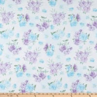 Comfy Flannel Watercolor Roses Blue