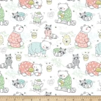 Comfy Flannel Animals Playing In Pajamas White