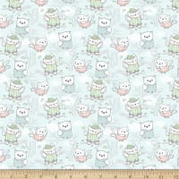 Comfy Flannel Owl Allover Blue
