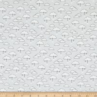 Comfy Flannel Clouds With Hanging Stars Light Gray