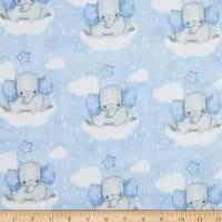 Comfy Flannel Elephant On Clouds Blue