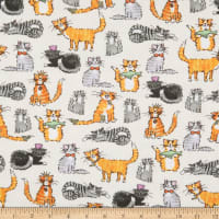 Comfy Flannel Dressed Up Cats Beige
