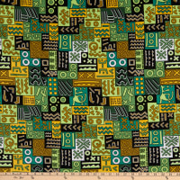 Shawn Pahwa African Print DTY Brushed Nhlahla Green/Yellow