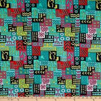 Shawn Pahwa African Print DTY Brushed Nhlahla Green/Turquoise