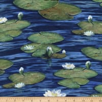 Northcott The Great Blue and Jacaranda Water Lilies Open Navy Multi