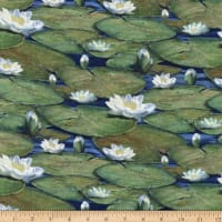 Northcott The Great Blue and Jacaranda Water Lilies Packed Navy Multi