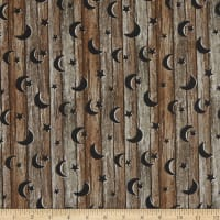 Northcott Nature's Calling Wood With Stars And Moons Brown Multi