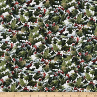 Northcott The Cardinal's Visit Packed Holly Off White Multi