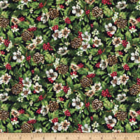 Northcott Hay...It's Christmas Holly And Pine Cones Black Multi