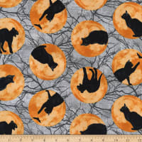 Northcott Black Cat Capers Cats In Moon Gray Multi