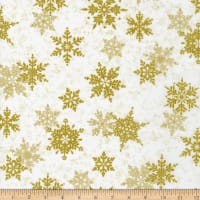 Northcott Metallic Shimmer Frost Large Snowflakes White Gold