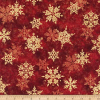 Northcott Metallic Shimmer Frost Large Snowflakes Dark Red/Gold