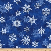 Northcott Metallic Shimmer Frost Large Snowflakes Dark Blusilver
