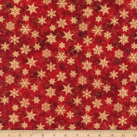 Northcott Metallic Shimmer Frost Small Snowflakes Light Red Gold