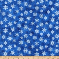 Northcott Metallic Shimmer Frost Small Snowflakes Light Blusilver