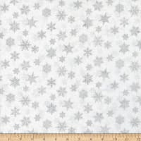 Northcott Metallic Shimmer Frost Small Snowflakes White Silver