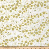 Northcott Metallic Shimmer Frost Blowing Snowflakes White Gold