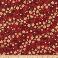 Northcott Metallic Shimmer Frost Blowing Snowflakes Dark Red/Gold