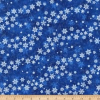 Northcott Metallic Shimmer Frost Blowing Snowflakes Dark Blusilver