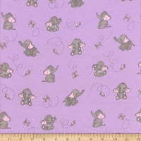 Flannel Elephant and Butterfly Lilac
