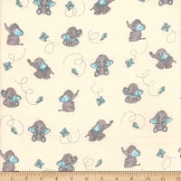 Flannel Elephant and Butterfly Aqua