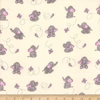 Flannel Elephant and Butterfly Pink