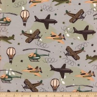 Flannel Multi Airplanes Green