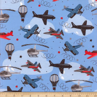 Flannel Multi Airplanes Blue