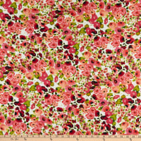 Printed Floral Chiffon Ivory/Pink/Green