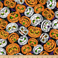 Timeless Treasures All Eyes On You Scary Pumpkins Glow In The Dark Black