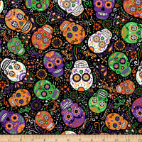 Timeless Treasures All Eyes On You Day Of The Dead Mardi Gras Skulls Black