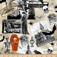 Timeless Treasures Nevermore Spooky Collage Multi