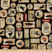 Timeless Treasures Nevermore Spooky Labels Black