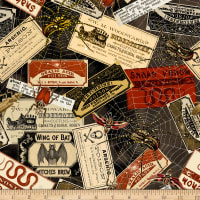 Timeless Treasures Nevermore Witches Labels Multi