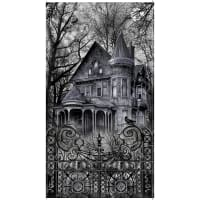 """Timeless Treasures Wicked Eve 24"""" Haunted House Panel Black"""