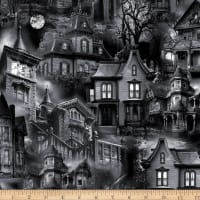 Timeless Treasures Wicked Eve Haunted Houses Black