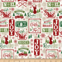 Timeless Treasures Comfort & Joy Christmas Patch On Wood Natural