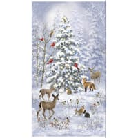 """Timeless Treasures Nature's Holiday Winter Woodland 24"""" Panel Blue"""