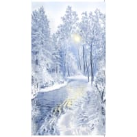 """Timeless Treasures Winter Frost Snowy Forest 24"""" Panel Blue"""