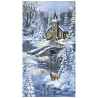 """Timeless Treasures Winter's Peace 24"""" Church In The Forest Panel Blue"""