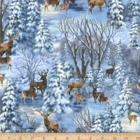 Timeless Treasures Winter's Peace Deer In The Forest Blue