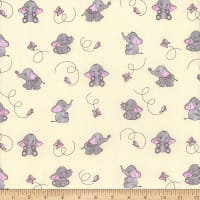 Mook Cotton Elephant Butterfly Yellow/Pink