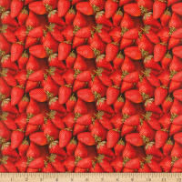 Cotton Fruits-Vegetables Strawberries Red