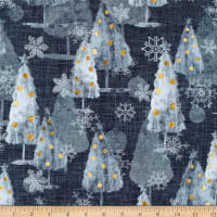 P&B Textiles Sophisticated Christmas All Over Trees/Snowflakes Silver/Grey