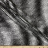 Telio Metallic Foil Stretch Single Knit Houndstooth Black/Silver