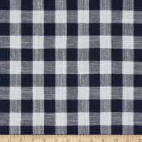 Telio Cotton Linen Blend Yarn Dyed Gingham Check White/Navy