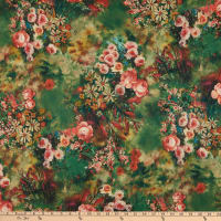 Fabric Merchants Double Brushed Poly Stretch Jersey Knit Floral Green/Coral